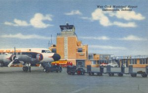 Linen Postcard 1956 Weir Cook Airport Indianapolis Indiana Eastern Air Lines 49Y