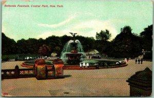 Vintage New York City Postcard Bethesda Fountain, Central Park c1910s