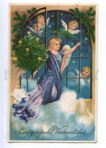 189921 X-MAS Christmas ANGEL Winged Vintage LITHO postcard