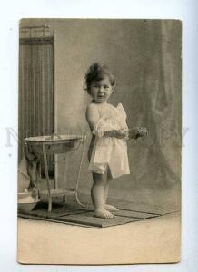 233946 NUDE Little Girl in BATH Room Vintage postcard