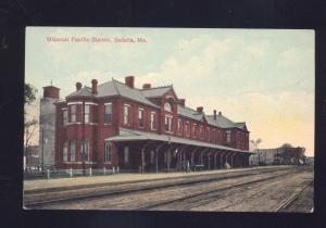 SEDALIA MO. MISSOURI PACIFIC RAILROAD DEPOT TRAIN STATION VINTAGE POSTCARD 1908