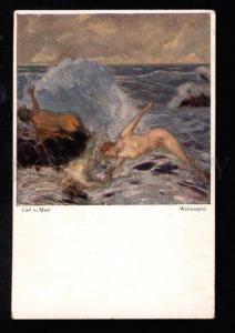 029239 MERMAIDS in Sea By MARR Vintage Art colorful PC