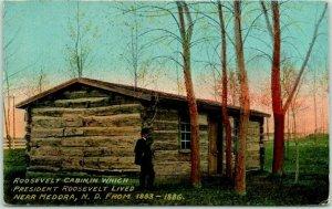 Medora, North Dakota Postcard ROOSEVELT CABIN Log Cabin / 1915 ND Cancel