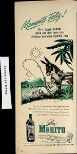 1947 Ron Merito Puerto Rico Rum Fishing Momento Feliz Vintage Print Ad 4575