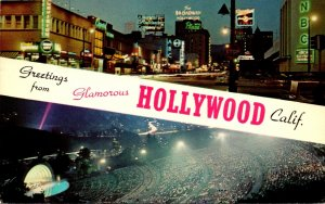 California Hollywood Greetings Showing Hollywood Bowl & Vine Street From Suns...