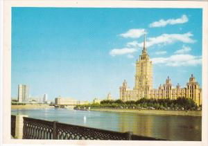 Russia Moscow Building Scene Along River