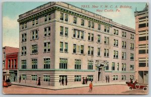 New Castle Pennsylvania~New YMCA Bldg~Trolley~Art Deco~c1915 Acmegraph #7933