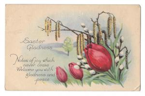 Easter Greetings Poem Tulips Pussy Willows Arts and Crafts Era Vintage Postcard