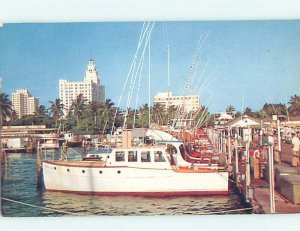 Pre-1980 HOTELS BEHIND FISHING BOATS MARINA Miami Florida FL AE1092
