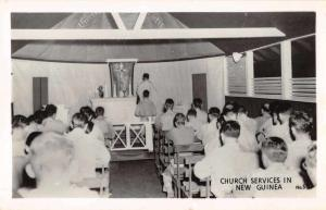 New Guinea Church Services Interior View Real Photo Antique Postcard J66521