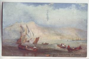 P1120 old postcard unused art line fishing off hastings united kingdom