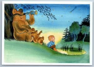 Little Boy & Brown Bear Teddy bear look at the stars Tale NEW Russia Postcard
