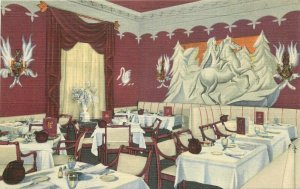 Chicago Illinois Continental Russian Restaurant 1940s Postcard Teich linen 6464