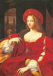 Postcard, Joanna, Queen of Naples portrait at Warwick Castle, Warwickshire 95Y
