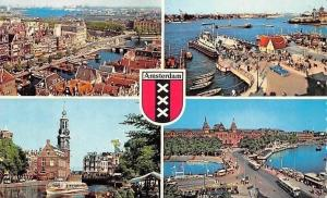 Netherlands Amsterdam General view Harbour Bridge Pont Bateaux Tram Cars