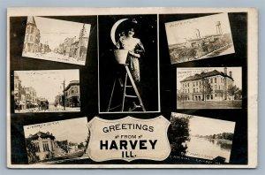 HARVEY ILL STREET SCENE CRESCENT MOON LADY ANTIQUE REAL PHOTO POSTCARD RPPC