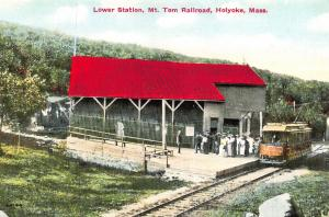 Vintage Repro c1910 Postcard Mount Tom Railroad, Lower Station, Holyoke, USA Z23