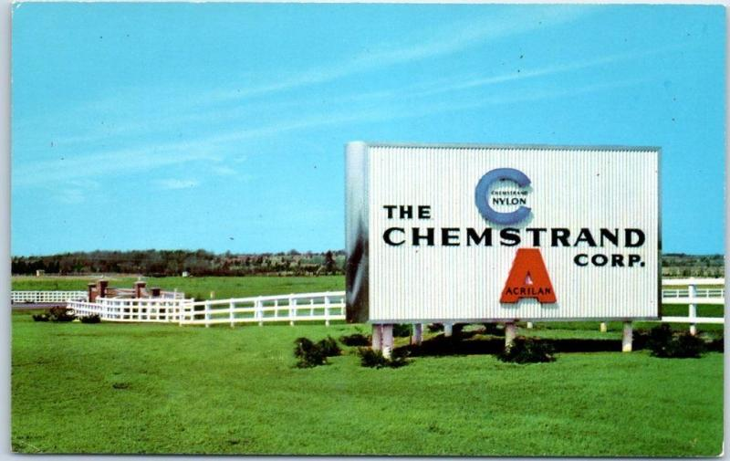 Decatur, Alabama Postcard Main Entrance of the CHEMSTRAND CORP. c1960s Unused