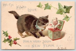 Christmas New Year Cat~Kitten Examines Jack in the Box~Ivy~Holly Berry Embossed