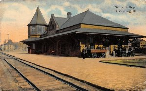 F88/ Galesburg Illinois Postcard 1912 Santa Fe Railroad Depot