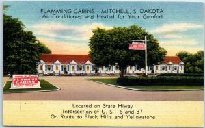 Mitchell, South Dakota Postcard FLAMMING CABINS Highway 16 Roadside Linen c1950s