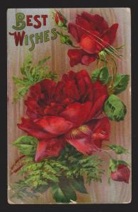 General Greetings - Best Wishes Roses - Used 1911 - Corner Creases