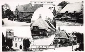 Greetings from Great Tew, England, Early Real Photo Postcard, Unused