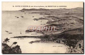 Old Postcard Cote d'Azur has to airplane flight to Cannes to Menton