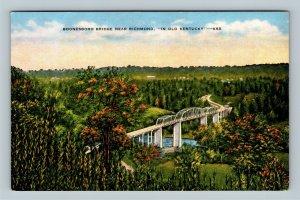 Richmond KY, Boonesboro Bridge, Linen Kentucky Postcard