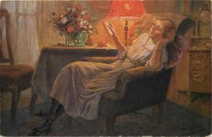 H. Rettig - Traute Stunde 1917 art postcard lady Study hour lamp