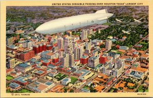 Vintage rare 1938 Zeppelin Airship dirigible over Houston Texas postcard