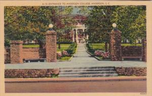 South Carolina Anderson Entrance To Anderson College