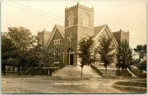 1912 FALLS CITY, Nebraska RPPC Photo Postcard PRESBYTERIAN CHURCH Street View