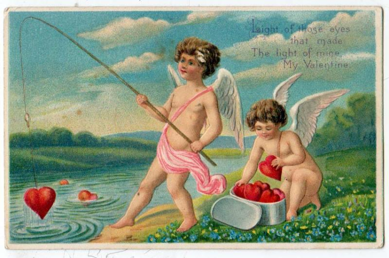 Valentine - Cherubs or Cupids Fishing for Hearts