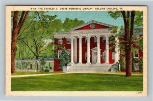Hollins College VA, Charles Cooke Memorial Library, Linen Virginia Postcard