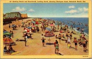 Vtg 1940s Bathing Beach Boardwalk Hotel Henlopen Rehoboth Beach DE Postcard