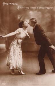 Ballroom Waltz Real Photo Dancing Glamour Antique Postcard
