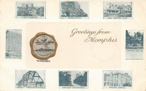 LP32   Memphis Tennessee Vintage Postcard Views Greetings Huld Publisher