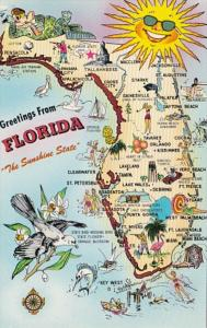 Florida Greetings With Map Of The Sunshine State