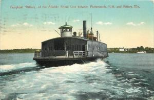 Atlantic Shore Portsmouth New Hampshire 1908 Ferryboat Kittery  Postcard 12599
