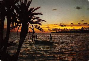 East Africa Seychelles Sunset over Cousin and Praslin Islands Boat Sunset