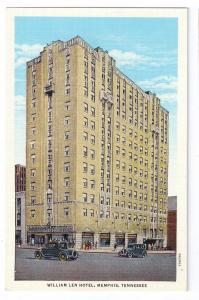 William Len Hotel Memphis Tennessee Curteich Linen Postcard