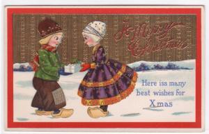 Dutch Kids Merry Christmas gold backed 1915 postcard