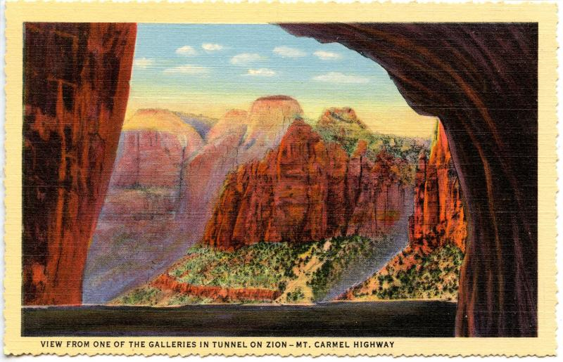 UT - Zion National Park. View from one of the Tunnels on Zion-Mt Carmel Highway