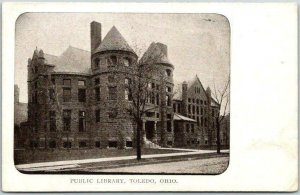 c1900s Toledo, Ohio Postcard PUBLIC LIBRARY Street View Undivided Back Unused