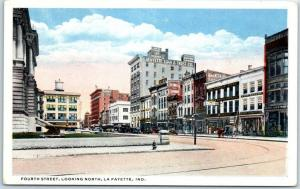 Lafayette, Indiana Postcard FOURTH STREET Looking North Downtown Scene c1930s