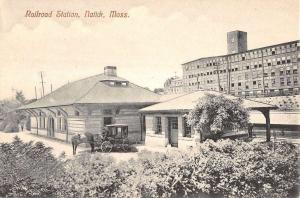 Railroad Station in Natick Massachusetts Antique Postcard L634