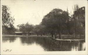 Boat House & Pond - Brooklyn NY Cancel 1923 Real Photo Postcard