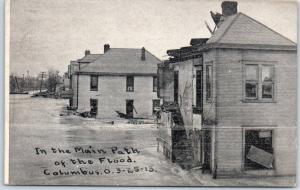 1913 COLUMBUS OHIO FLOOD Postcard Houses / Street View Novelty Shop Unused
