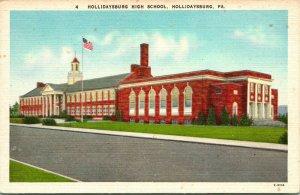 Vtg Postkarte Hollidaysburg Pennsylvania Pa - High School Bldg. Unp